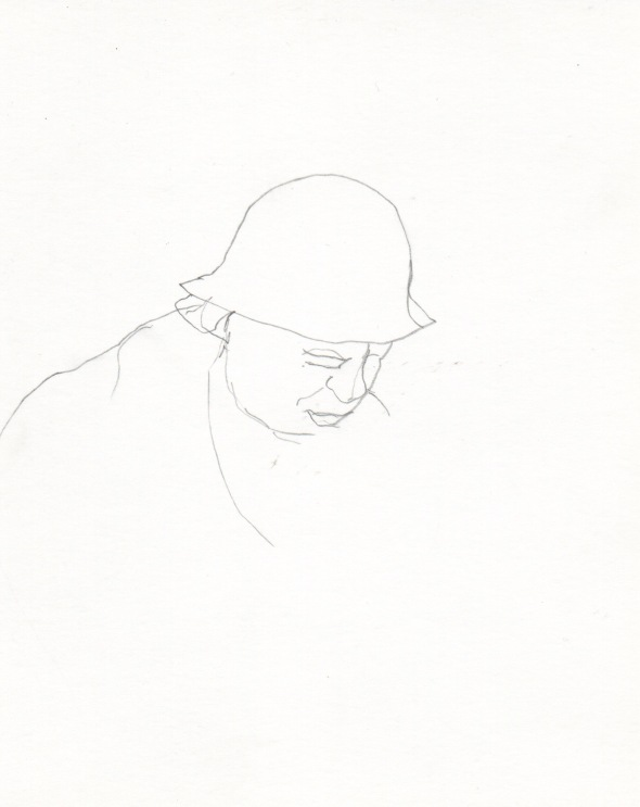 Ann drawing, Hutt Street 12noon (Pencil on card)
